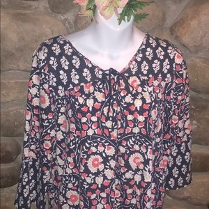 Lucky Brand Boho Chic Floral Top Coral Blue &White